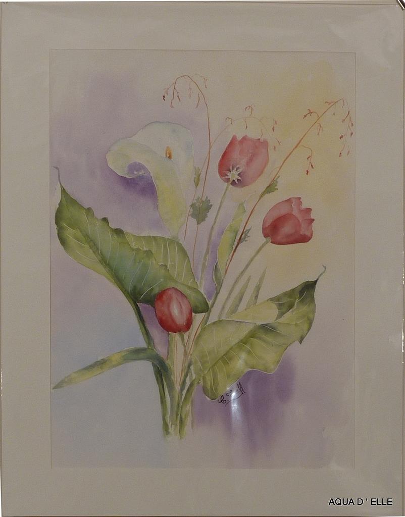 105-Tulipes et arum-50x65