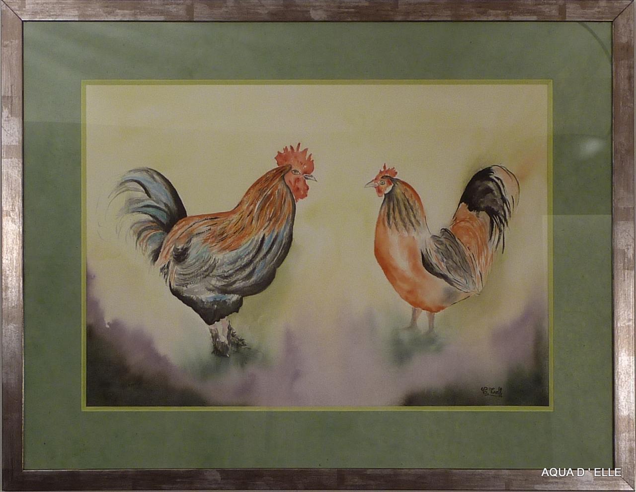 122-Coq et poule-(83x64)