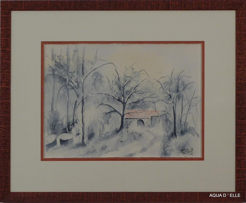 124-Petite maison sous la neige-(35x25)
