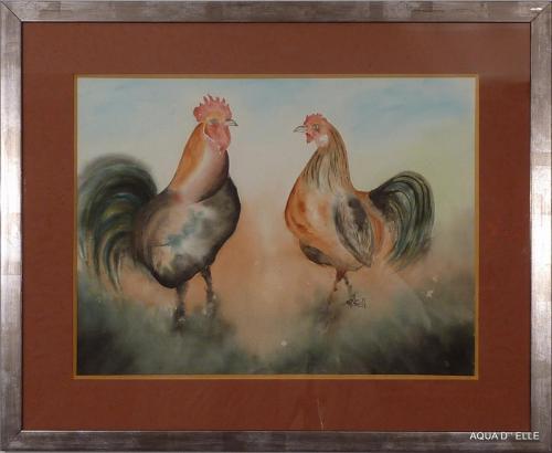 142b-Coq et poule-(72x58)