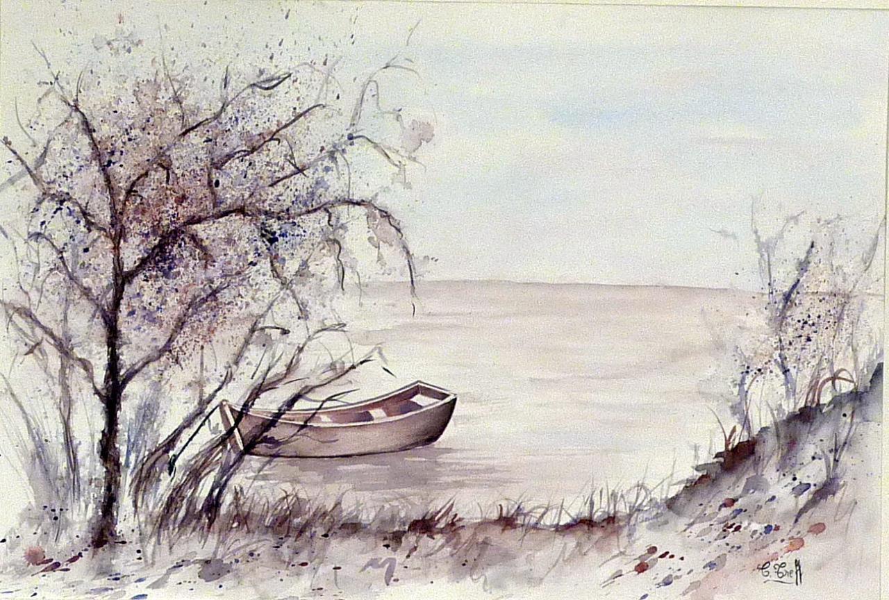 230b-Bateau sur le lac-(48x34)
