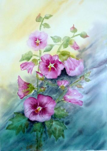 268b-Roses trémières-(39x55)