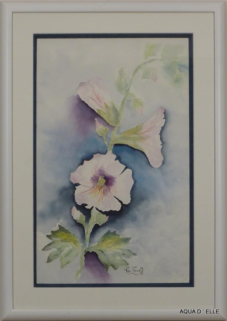 28b-Roses trémières blanches-(42x61)