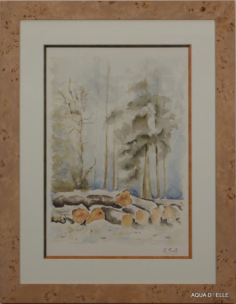 34-Sous bois enneigé-(45x60)
